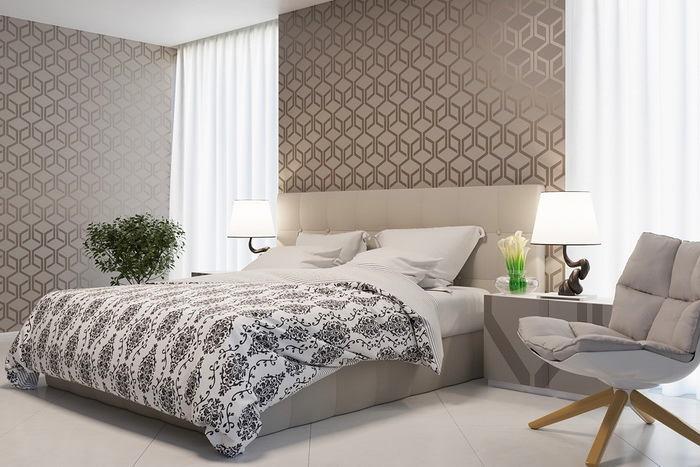 Спальня в цветах: светло-серый, белый, бежевый. Спальня в стиле скандинавский стиль.