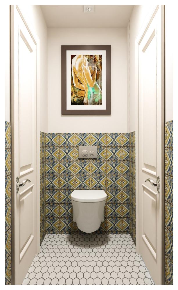Туалет в  цветах:   Бежевый, Белый, Коричневый, Светло-серый, Серый.  Туалет в  стиле:   Неоклассика.