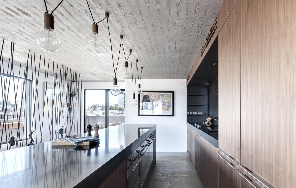 Кухня/столовая в  цветах:   Бежевый, Белый, Светло-серый, Серый, Черный.  Кухня/столовая в  стиле:   Лофт.