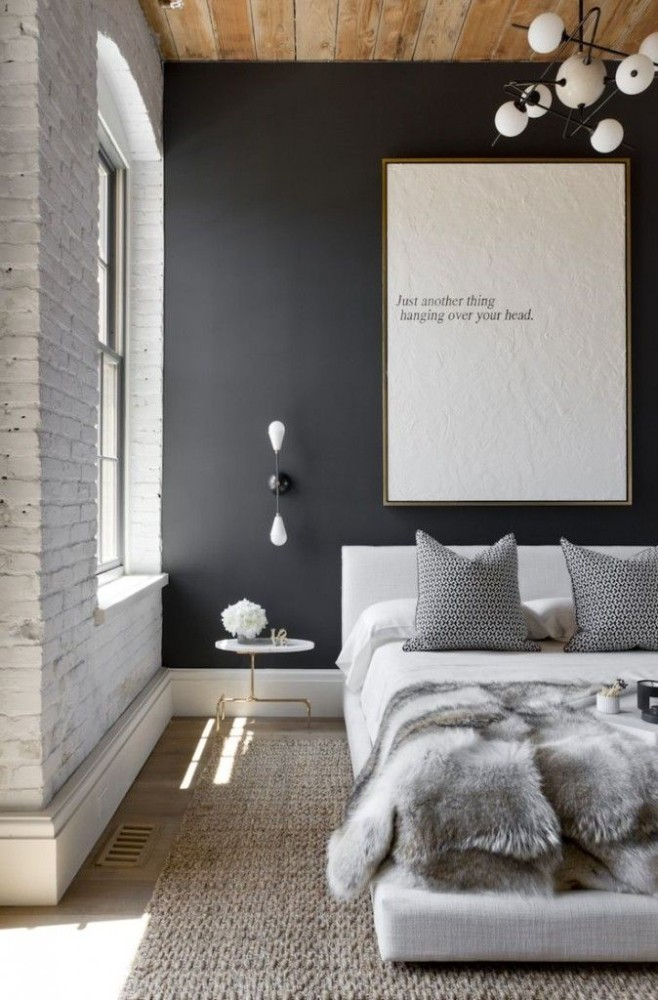 Спальня в  цветах:   Бежевый, Светло-серый, Серый, Черный.  Спальня в  стиле:   Лофт.