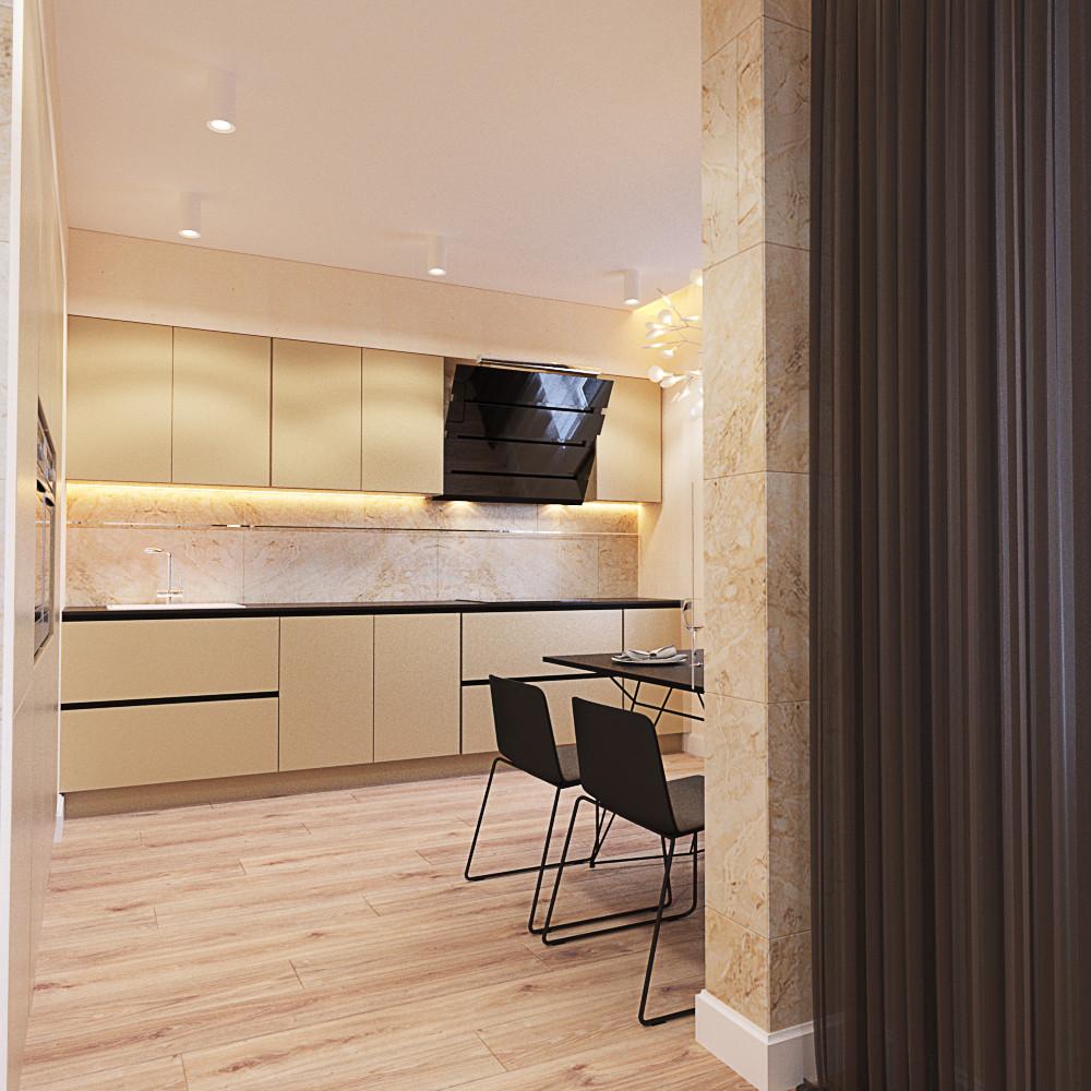 Кухня/столовая в  цветах:   Бежевый, Светло-серый, Темно-коричневый, Черный.  Кухня/столовая в  стиле:   Минимализм.