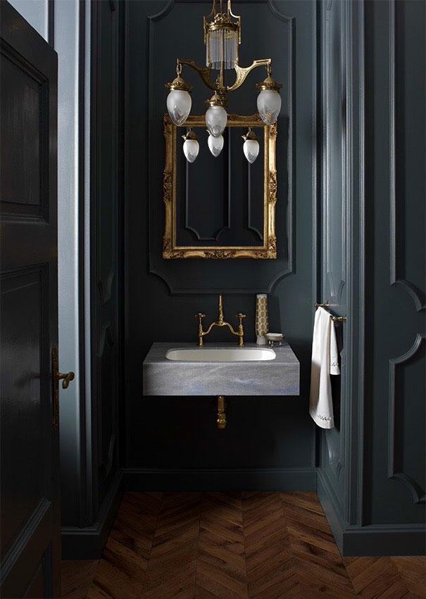 Ванная в  цветах:   Серый, Синий, Темно-коричневый, Черный.  Ванная в  стиле:   Классика.
