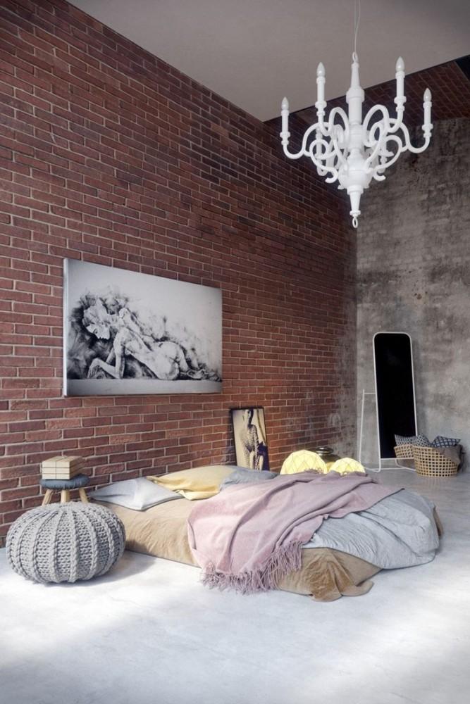 Спальня в  цветах:   Коричневый, Светло-серый, Серый, Темно-коричневый, Черный.  Спальня в  стиле:   Лофт.