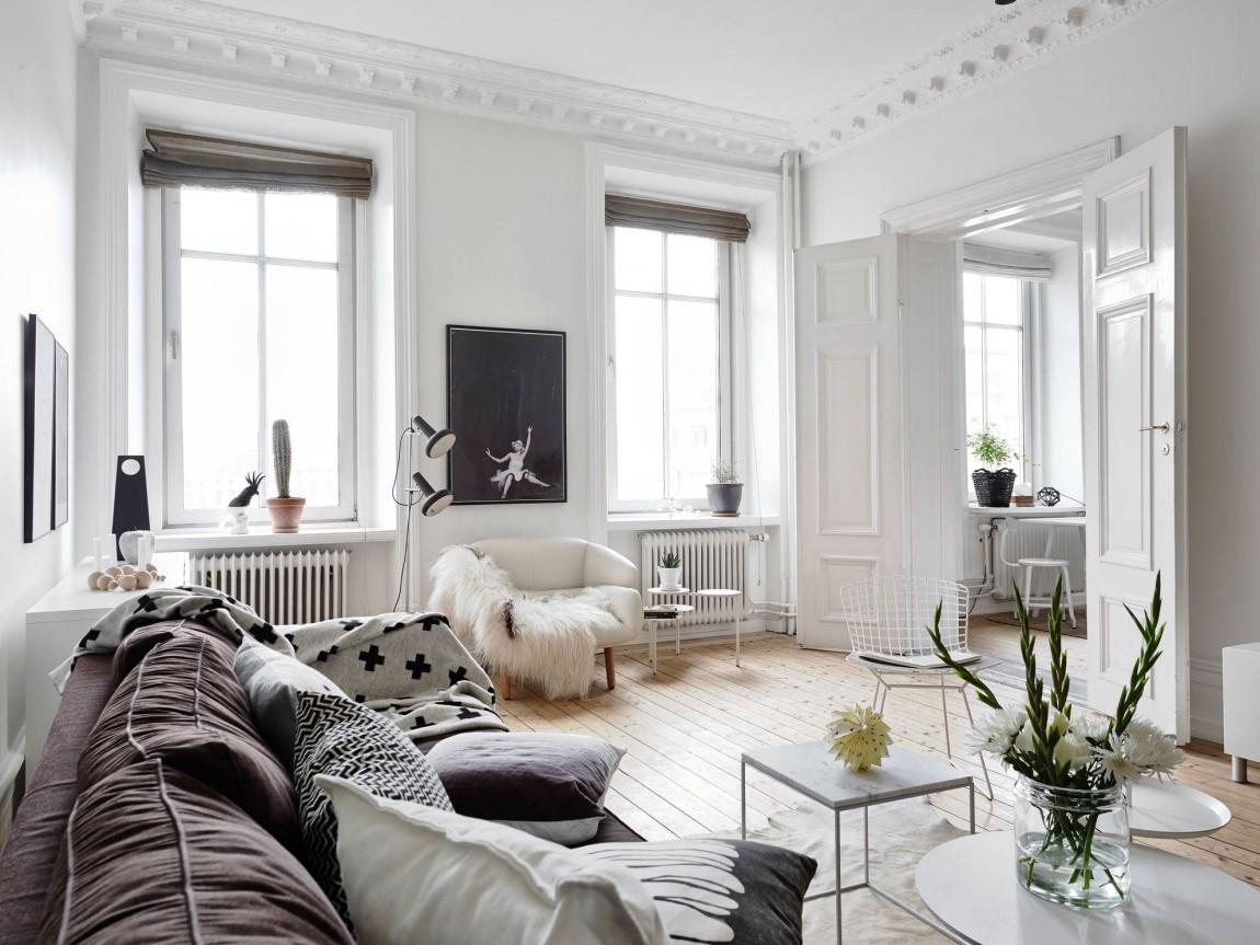 Гостиная в  цветах:   Бежевый, Белый, Светло-серый, Серый, Черный.  Гостиная в  стиле:   Скандинавский.