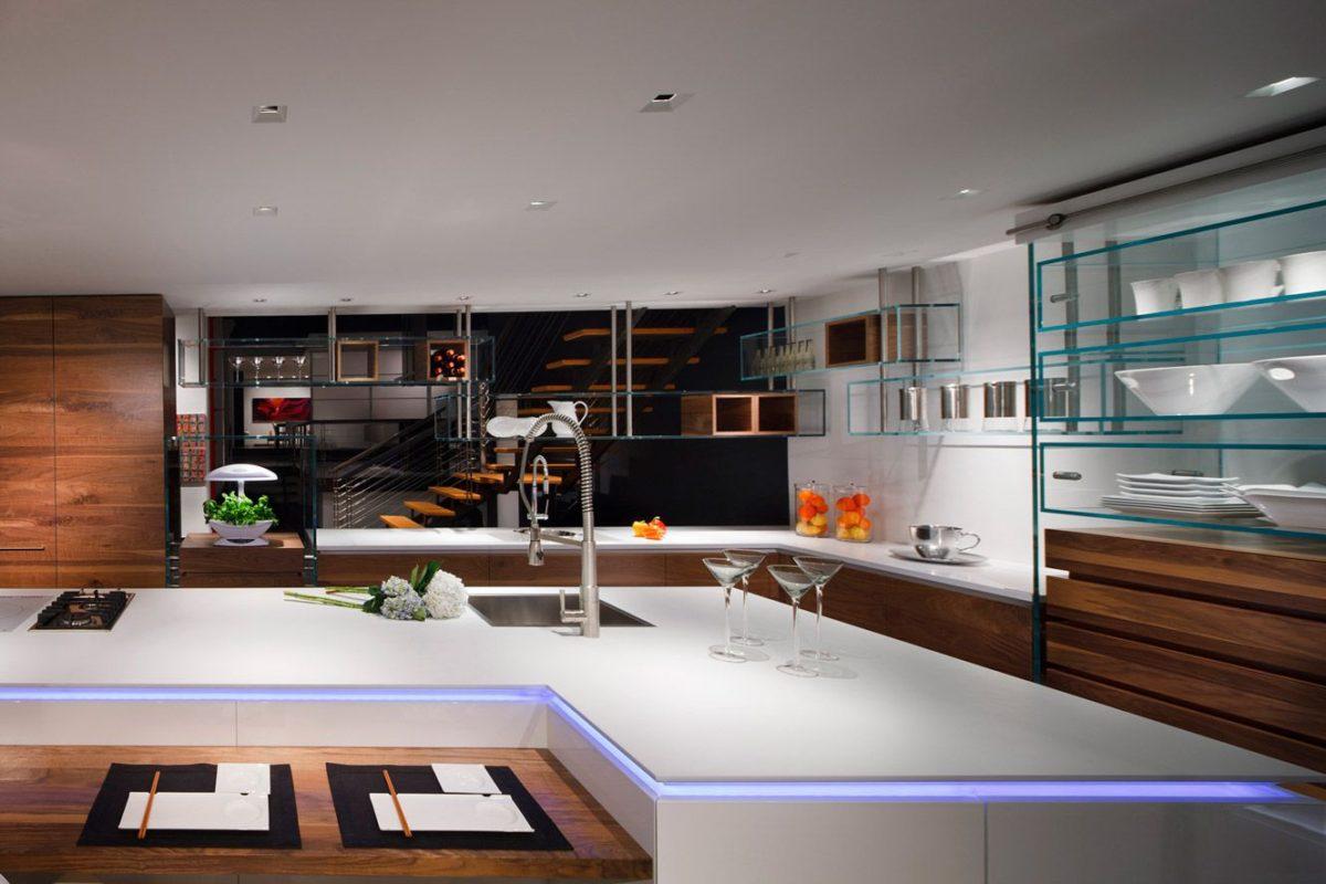 Кухня/столовая в  цветах:   Бежевый, Светло-серый, Серый, Темно-коричневый, Черный.  Кухня/столовая в  стиле:   Хай-тек.