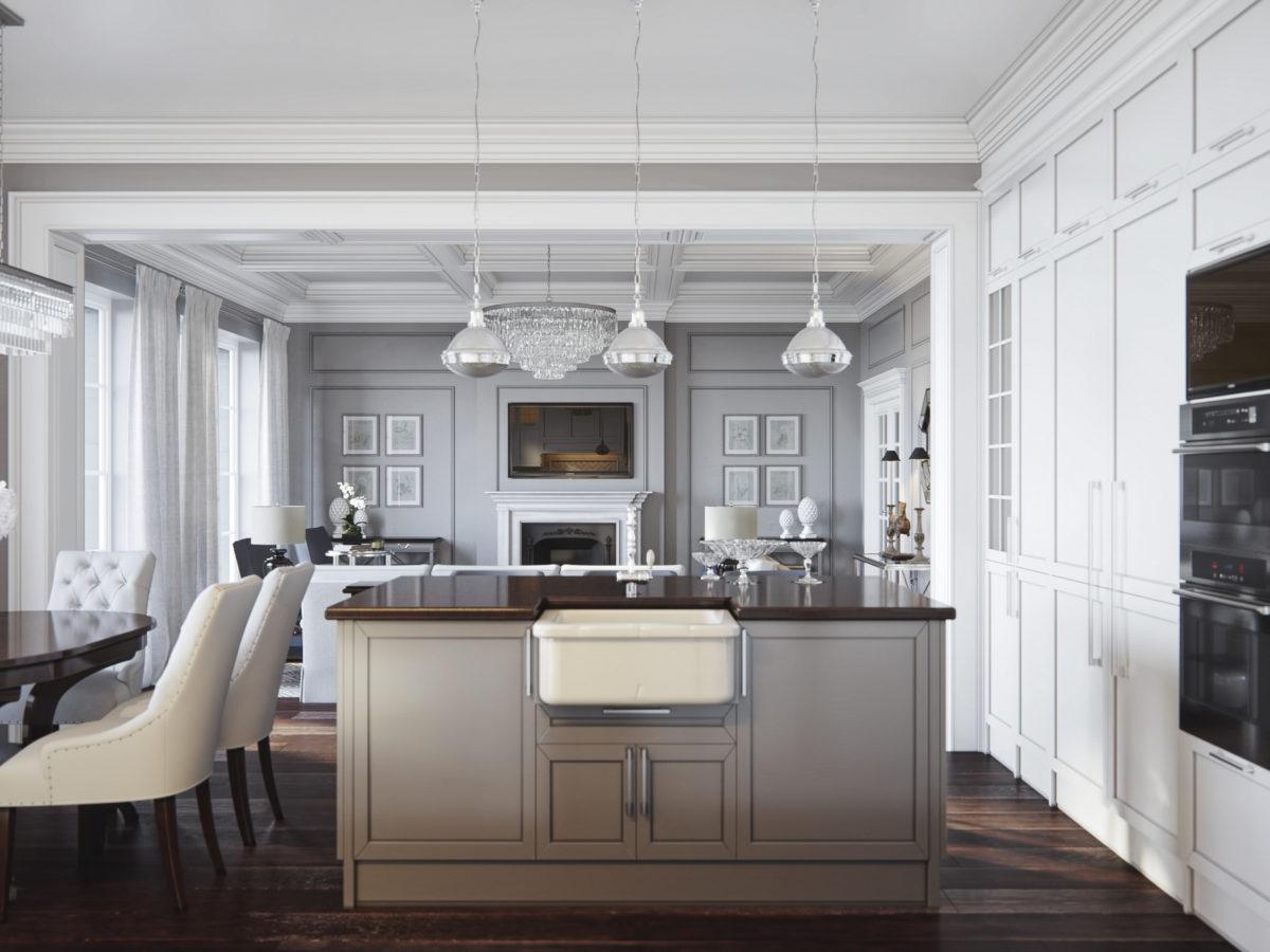 Кухня/столовая в  цветах:   Светло-серый, Серый, Темно-коричневый, Черный.  Кухня/столовая в  стиле:   Неоклассика.