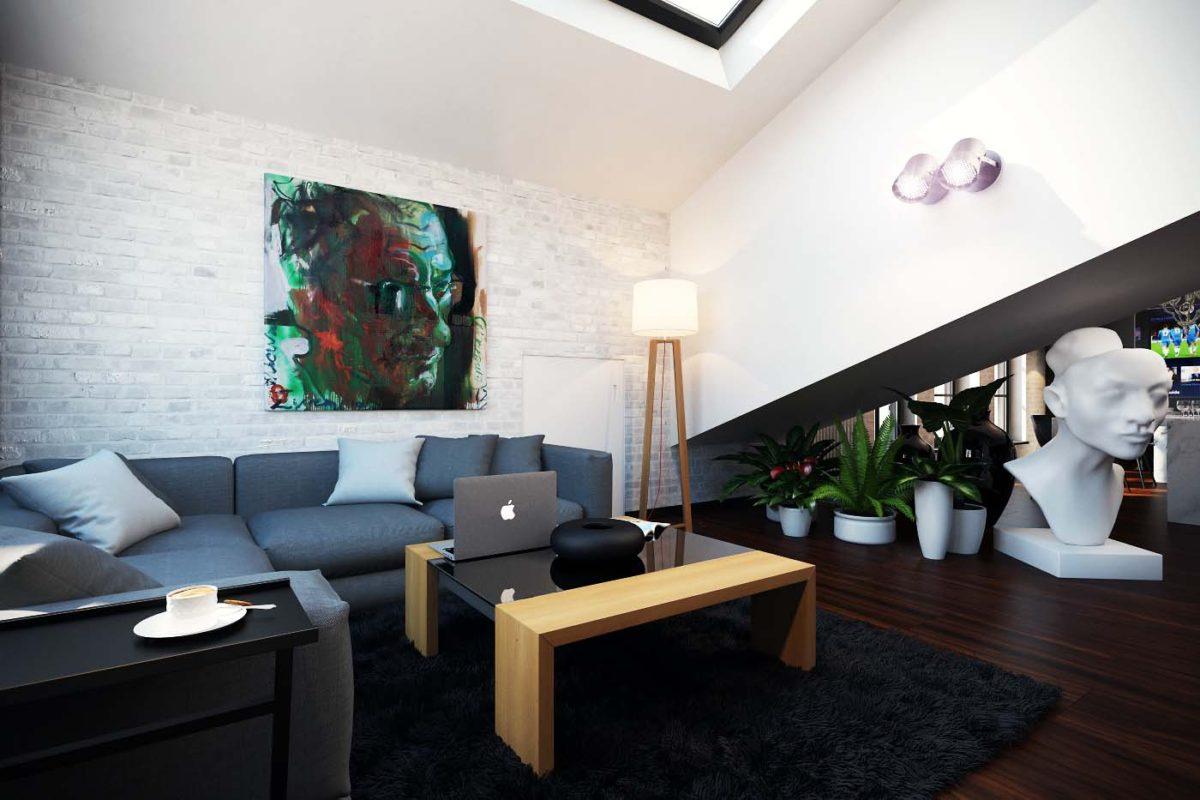 Гостиная в  цветах:   Белый, Светло-серый, Серый, Синий, Черный.  Гостиная в  стиле:   Лофт.