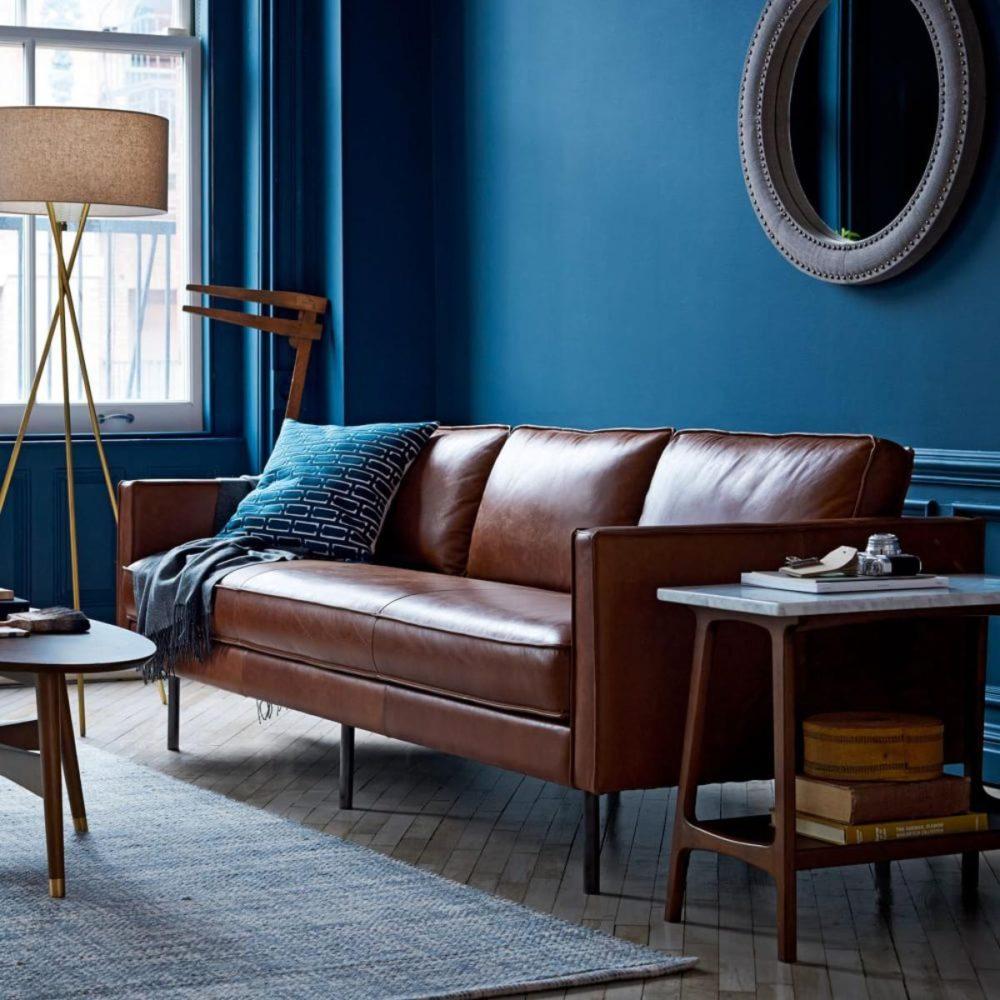 Гостиная в  цветах:   Бирюзовый, Серый, Синий, Темно-коричневый, Черный.  Гостиная в  стиле:   Минимализм.