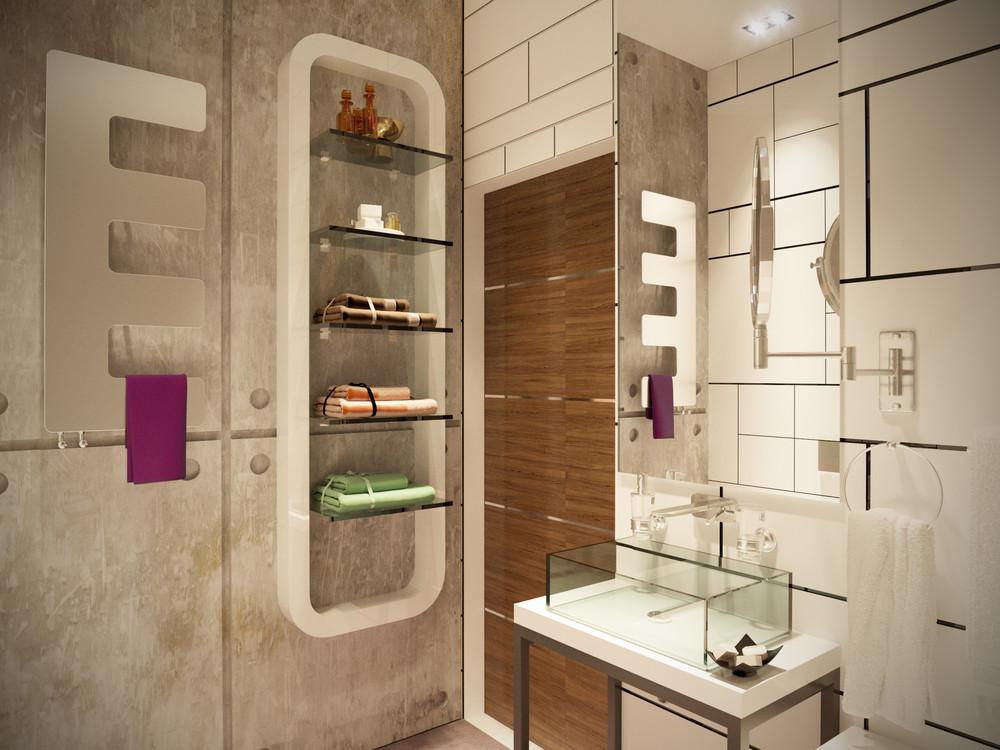 Ванная в  цветах:   Бежевый, Коричневый, Светло-серый.  Ванная в  стиле:   Минимализм.