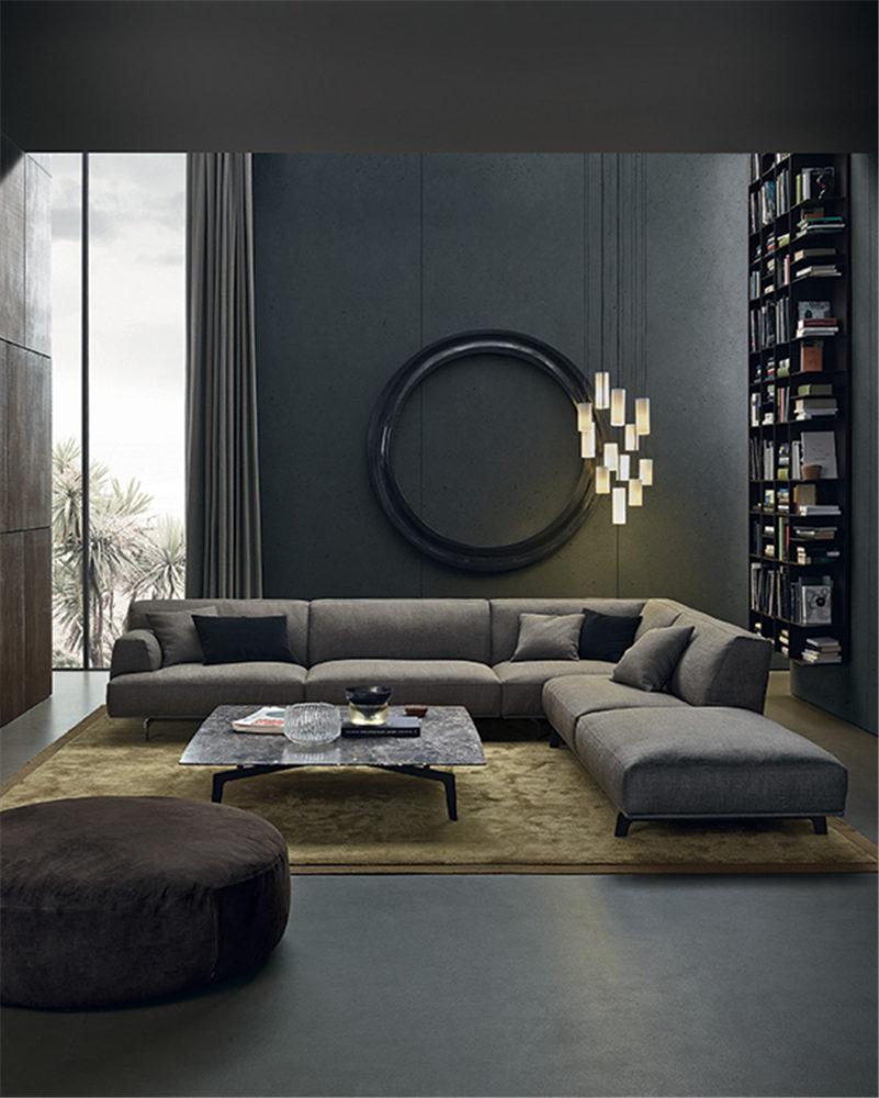Гостиная в  цветах:   Серый, Синий, Темно-коричневый, Черный.  Гостиная в  стиле:   Минимализм.