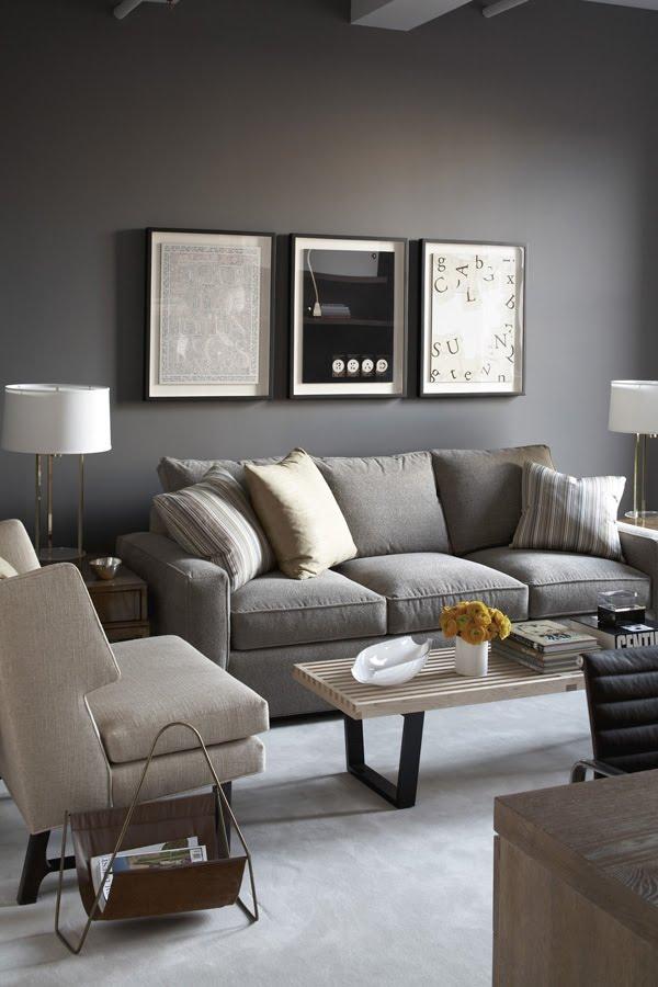 Гостиная в  цветах:   Светло-серый, Серый, Темно-коричневый, Черный.  Гостиная в  стиле:   Минимализм.