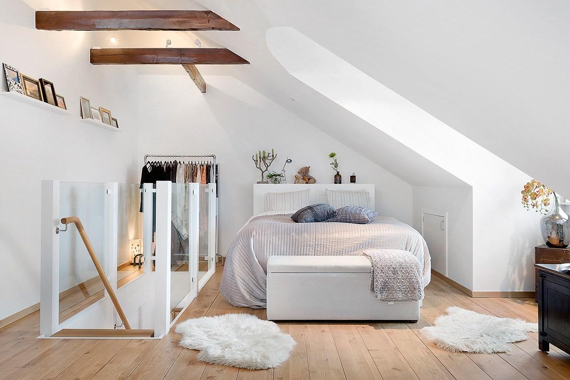 Спальня в  цветах:   Бежевый, Белый, Светло-серый.  Спальня в  стиле:   Скандинавский.