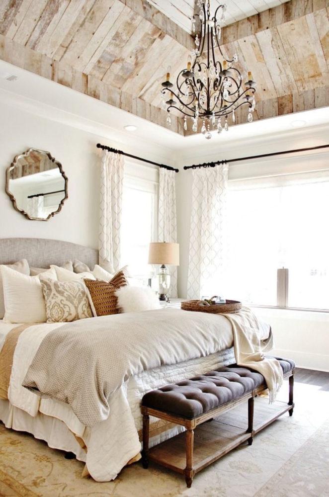 Спальня в  цветах:   Бежевый, Белый, Светло-серый.  Спальня в  стиле:   Неоклассика.