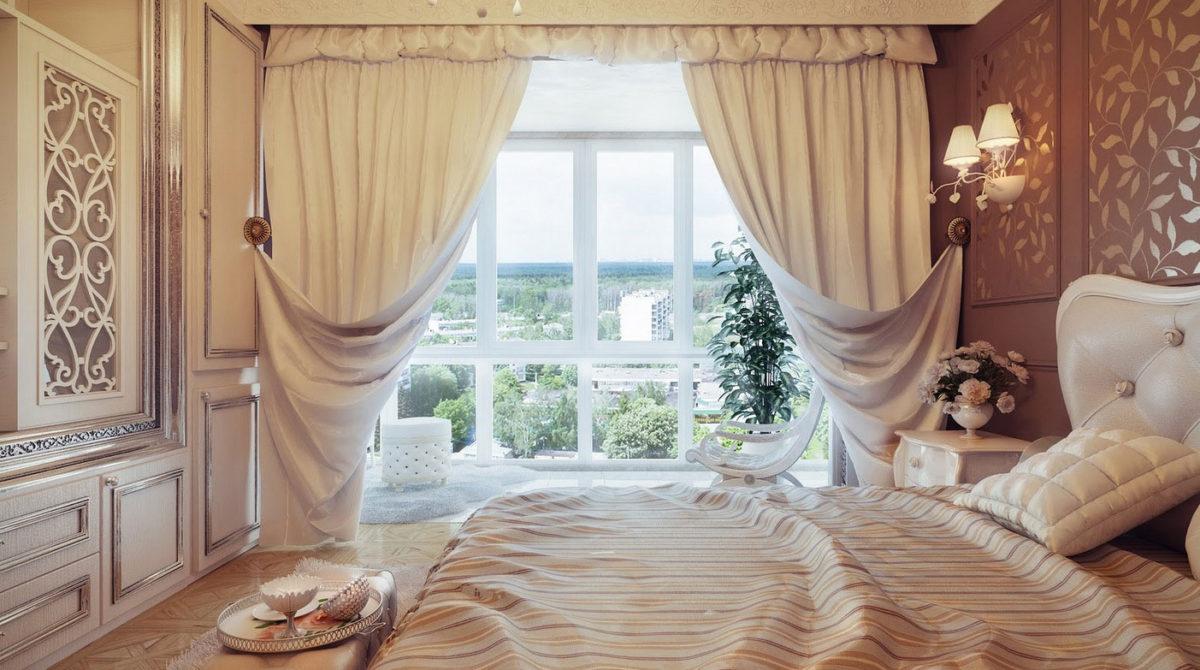 Спальня в  цветах:   Бежевый, Коричневый, Светло-серый, Серый.  Спальня в  стиле:   Неоклассика.