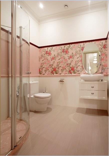 Ванная в  цветах:   Бежевый, Коричневый, Светло-серый.  Ванная в  стиле:   Неоклассика.
