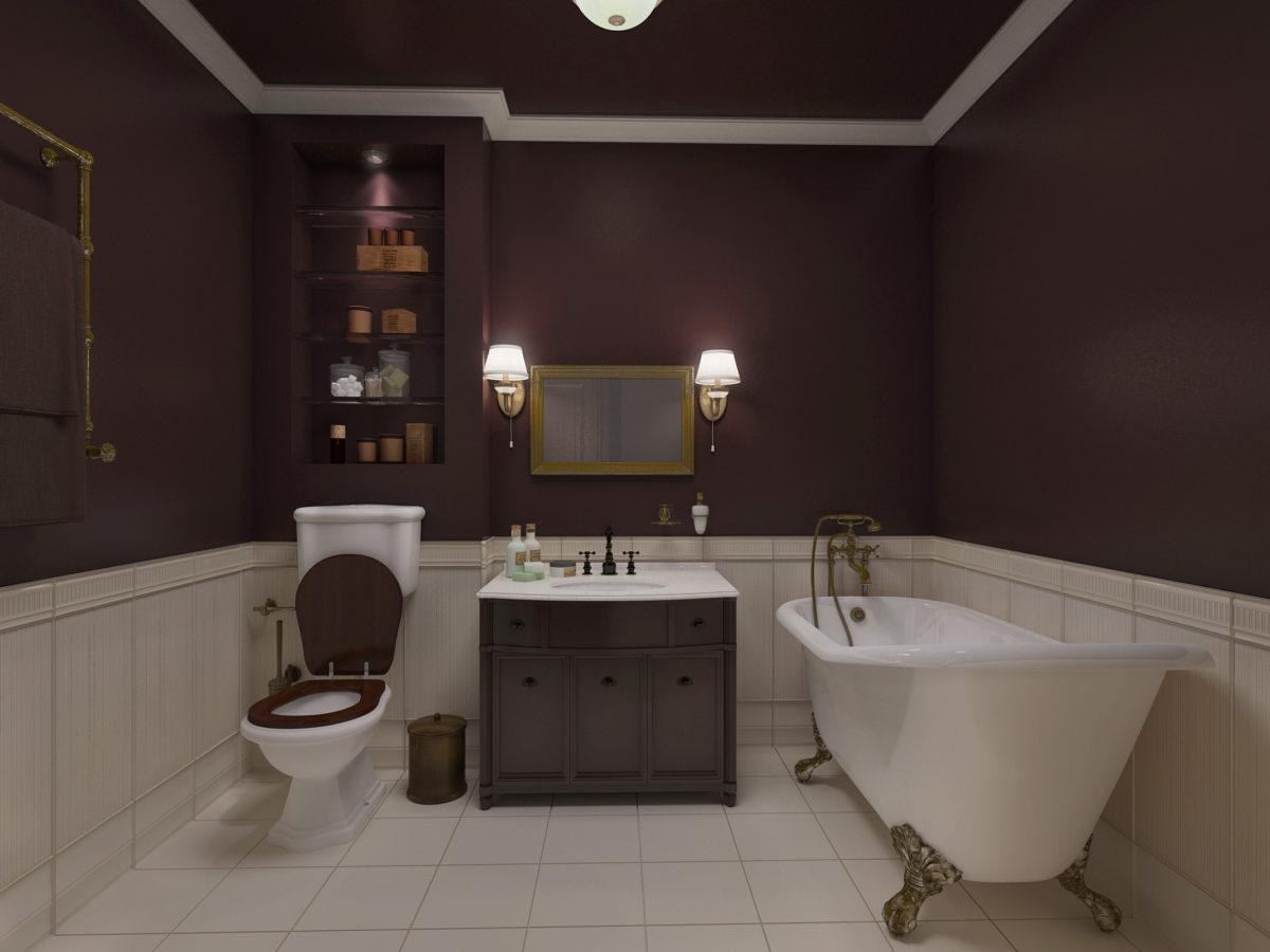 Ванная в  цветах:   Бежевый, Серый, Темно-коричневый, Черный.  Ванная в  стиле:   Неоклассика.