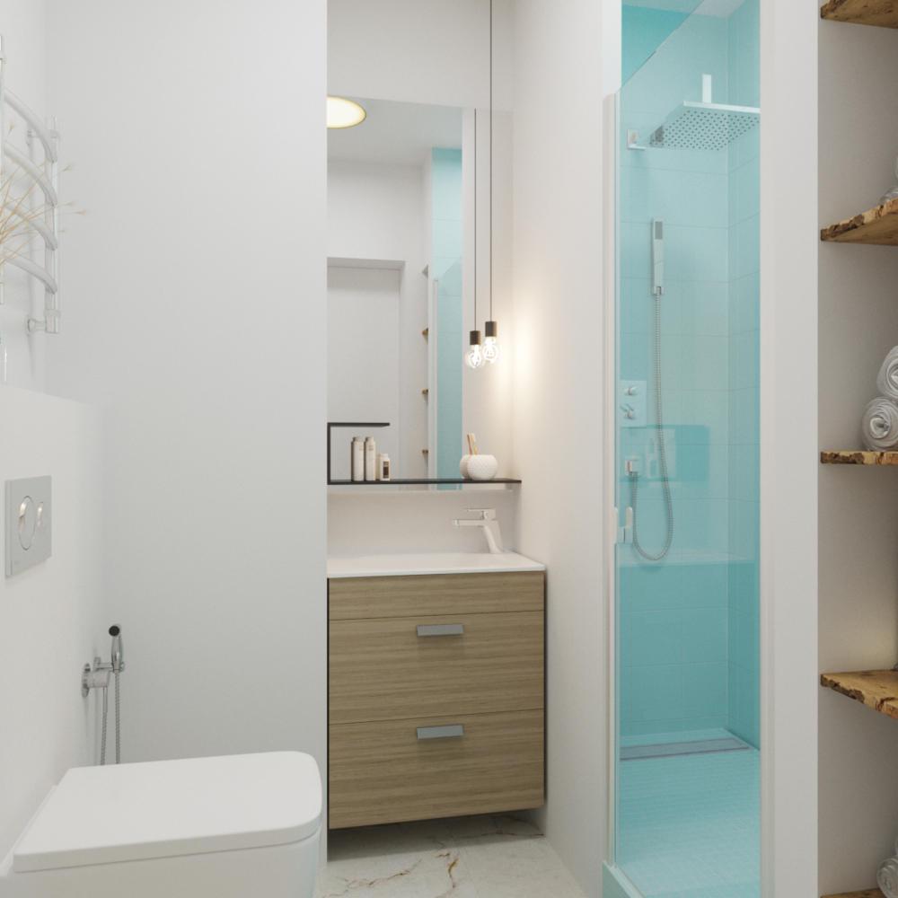 Ванная в  цветах:   Бежевый, Голубой, Светло-серый, Серый.  Ванная в  стиле:   Минимализм.