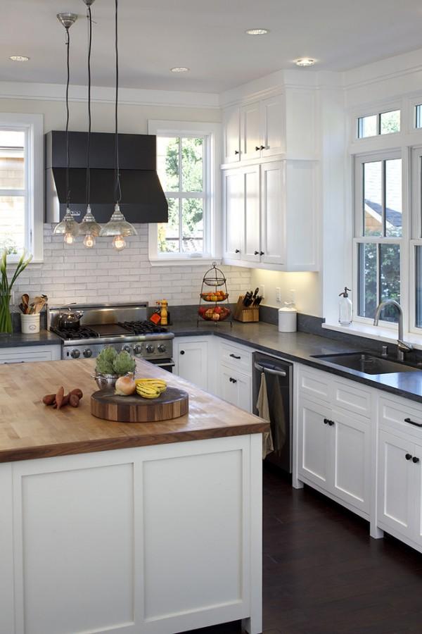 Кухня/столовая в  цветах:   Бежевый, Белый, Светло-серый, Серый, Черный.  Кухня/столовая в  стиле:   Американский стиль.