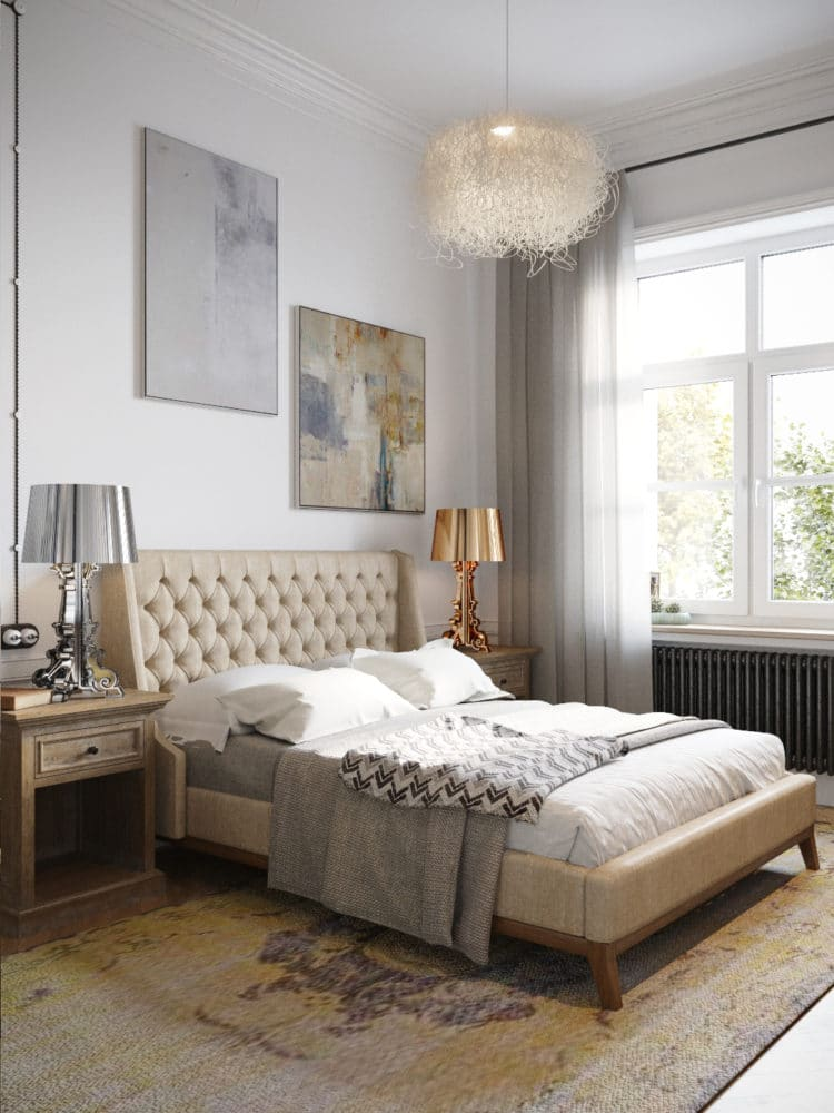 Спальня в  цветах:   Бежевый, Белый, Светло-серый, Серый, Темно-коричневый.  Спальня в  стиле:   Скандинавский.