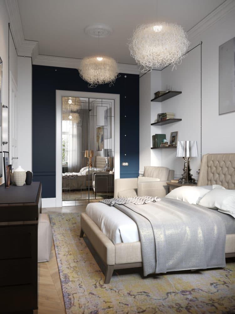 Спальня в  цветах:   Бежевый, Светло-серый, Серый, Черный.  Спальня в  стиле:   Скандинавский.