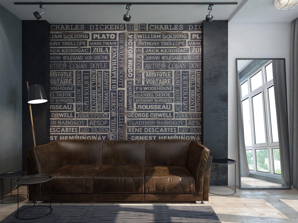 Гостиная в  цветах:   Светло-серый, Серый, Синий, Темно-коричневый, Черный.  Гостиная в  стиле:   Лофт.