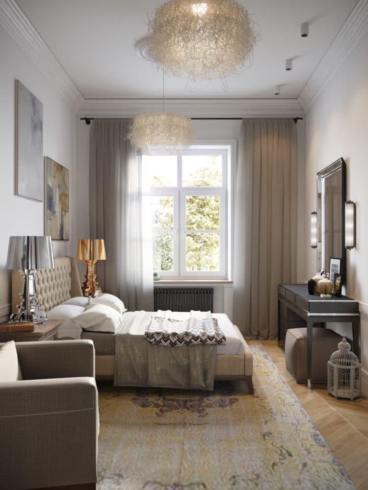 Спальня в  цветах:   Бежевый, Коричневый, Светло-серый, Серый, Темно-коричневый.  Спальня в  стиле:   Скандинавский.