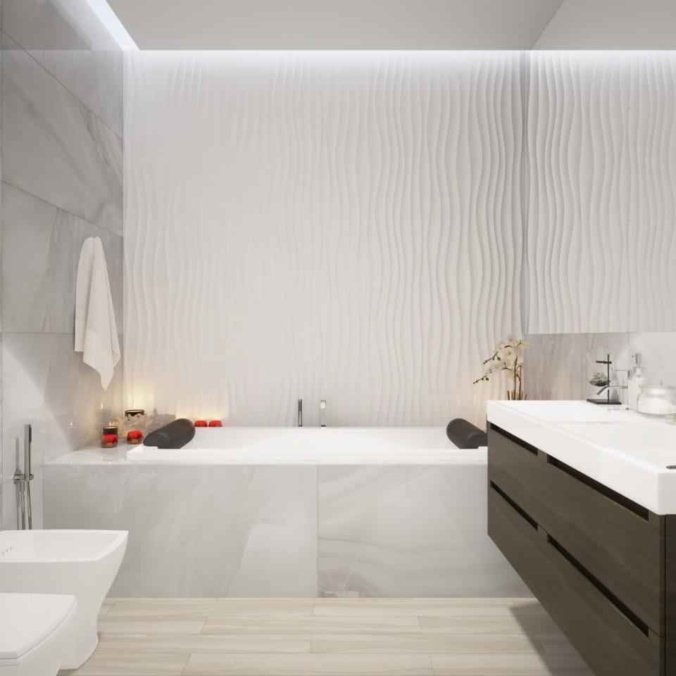 Ванная в  цветах:   Бежевый, Светло-серый, Темно-коричневый.  Ванная в  стиле:   Минимализм.