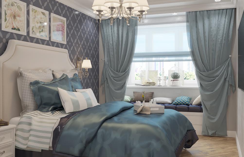 Спальня в  цветах:   Бежевый, Светло-серый, Серый, Синий.  Спальня в  стиле:   Неоклассика.