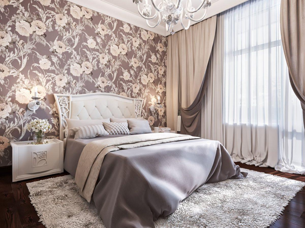 Спальня в  цветах:   Бежевый, Белый, Светло-серый, Серый, Темно-коричневый.  Спальня в  стиле:   Неоклассика.