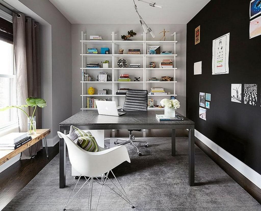 Кабинет в  цветах:   Белый, Светло-серый, Серый, Темно-коричневый, Черный.  Кабинет в  стиле:   Минимализм.