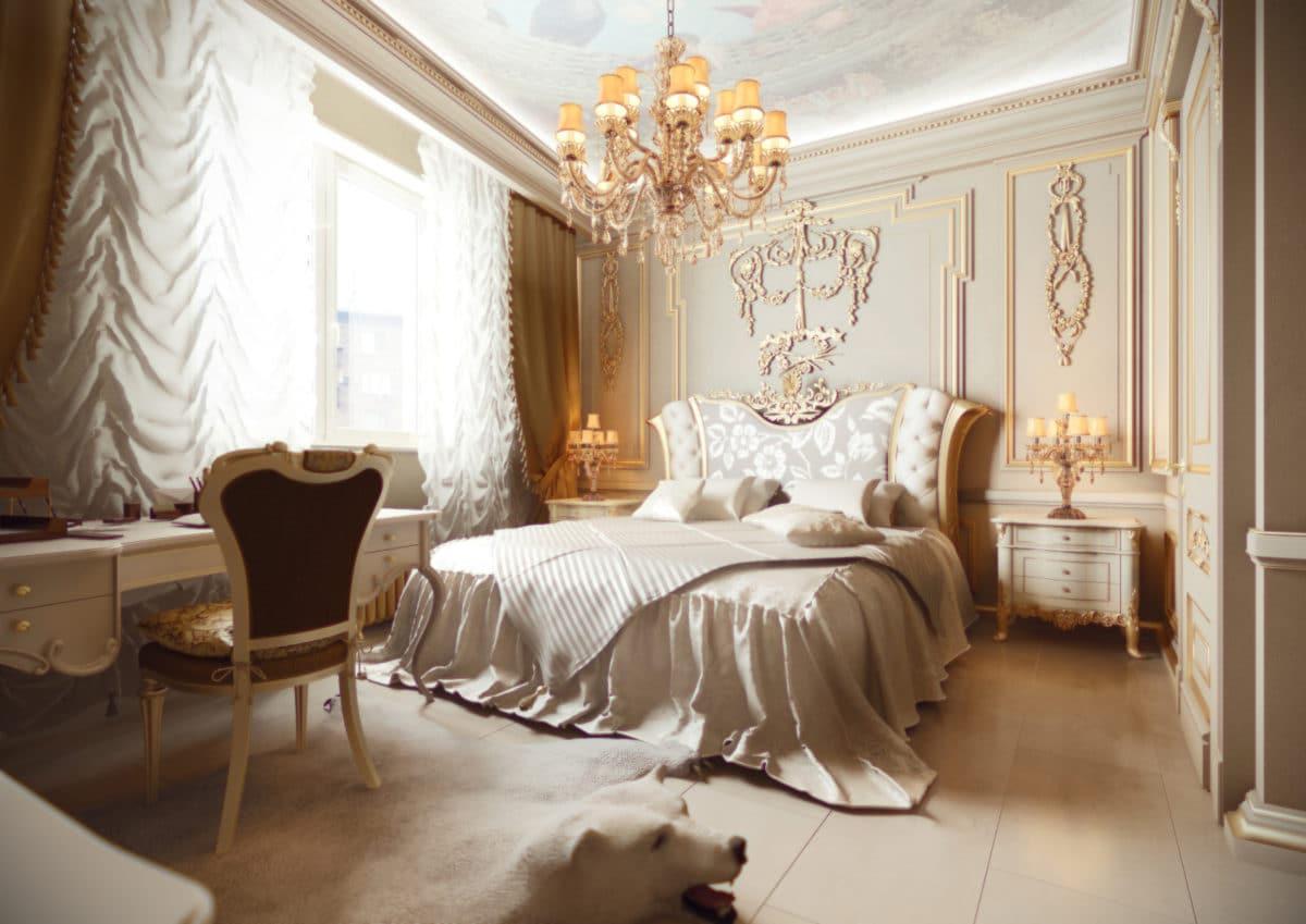 Спальня в  цветах:   Бежевый, Белый, Коричневый, Светло-серый, Темно-коричневый.  Спальня в  стиле:   Неоклассика.
