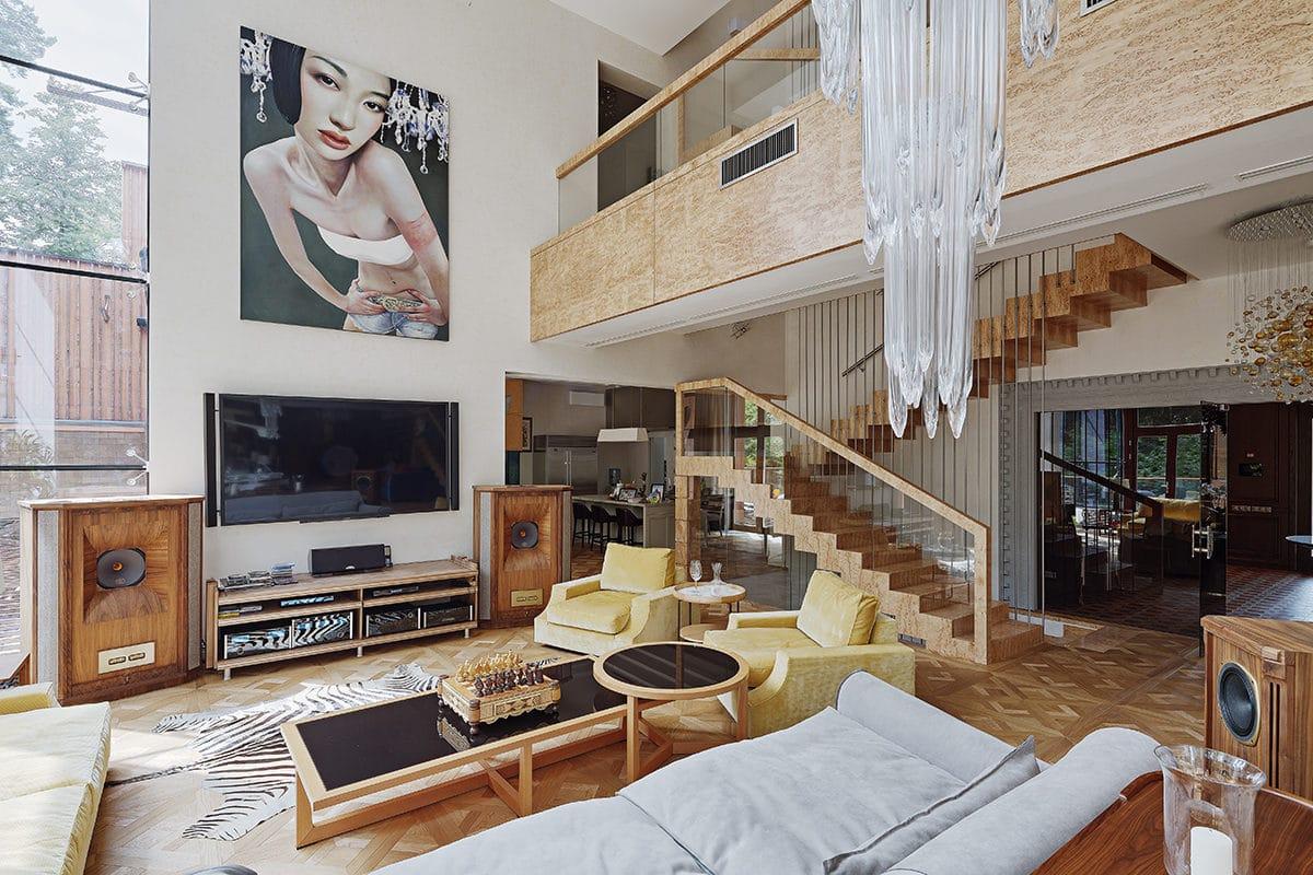 Загородный дом: яркий интерьер особняка на Рублёвке