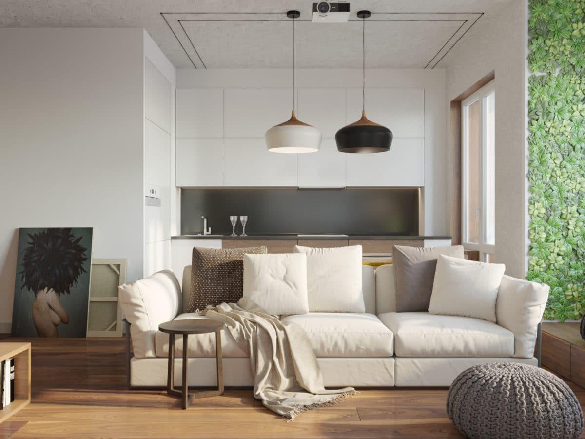 Гостиная в  цветах:   Бежевый, Светло-серый, Серый, Темно-коричневый.  Гостиная в  стиле:   Минимализм.