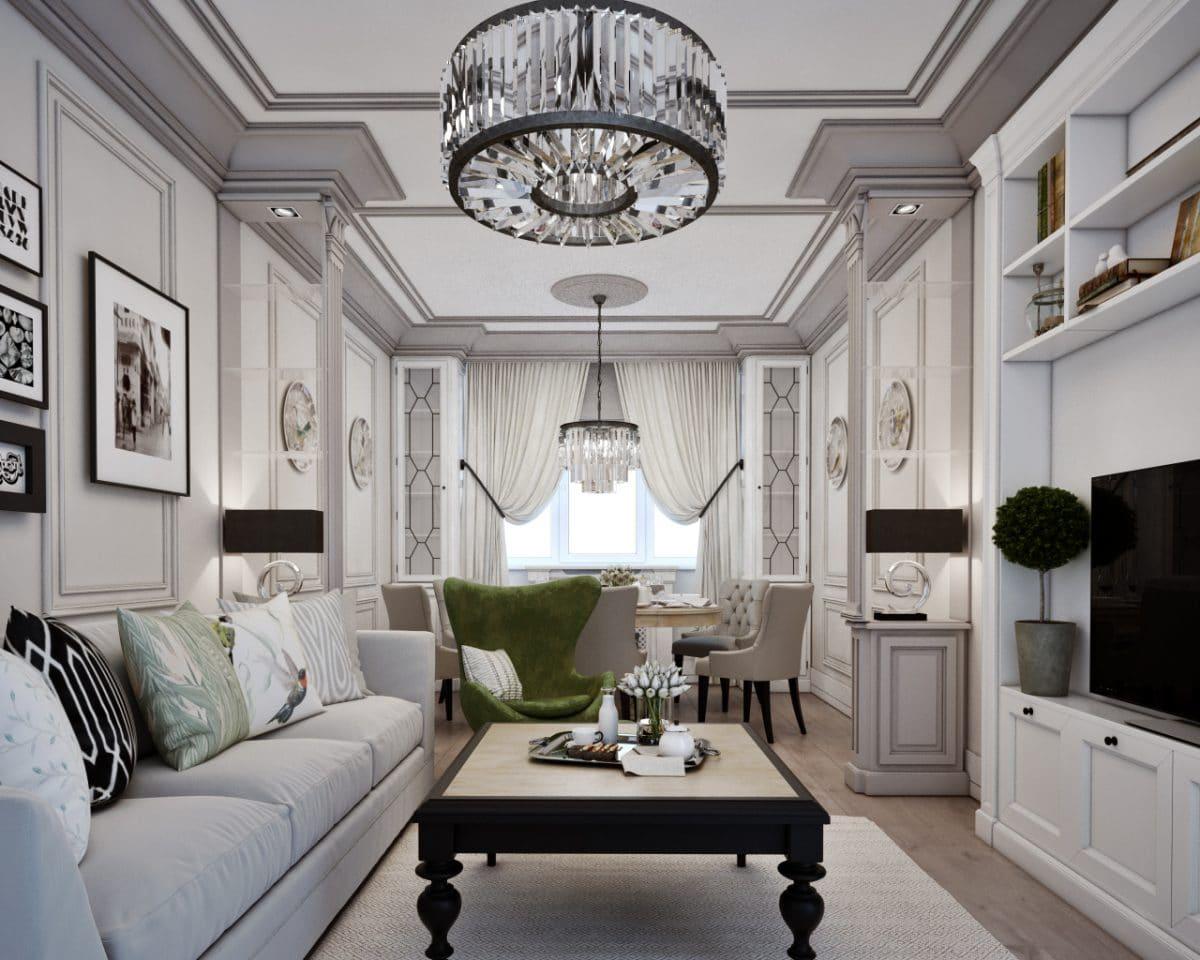Трёхкомнатная квартира в московской «сталинке»: современная классика в серых тонах