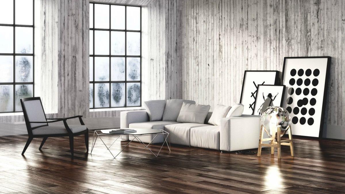 Гостиная в  цветах:   Бежевый, Белый, Светло-серый, Серый, Темно-коричневый.  Гостиная в  стиле:   Лофт.