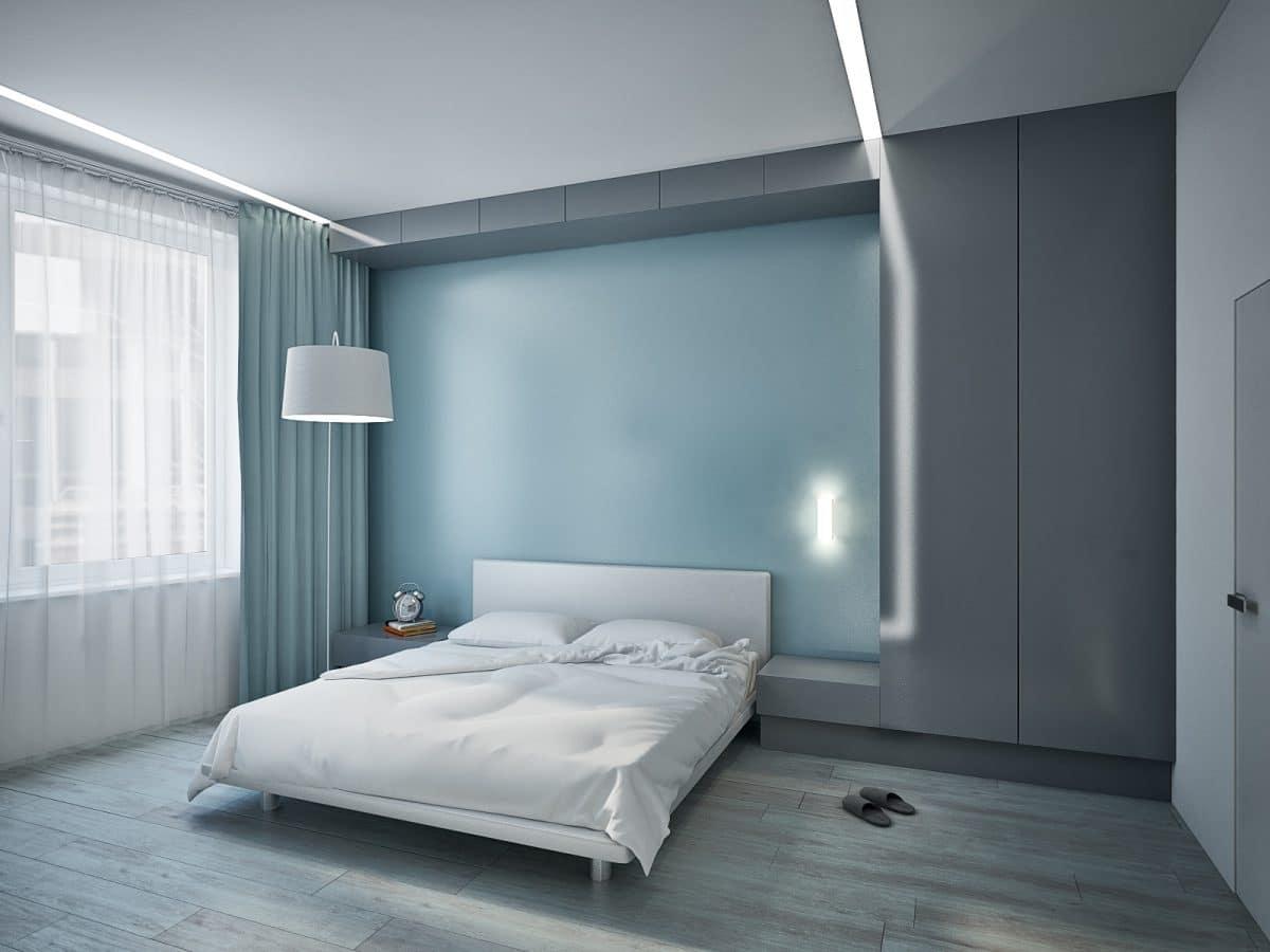 Спальня в  цветах:   Бирюзовый, Светло-серый, Серый, Синий.  Спальня в  стиле:   Минимализм.