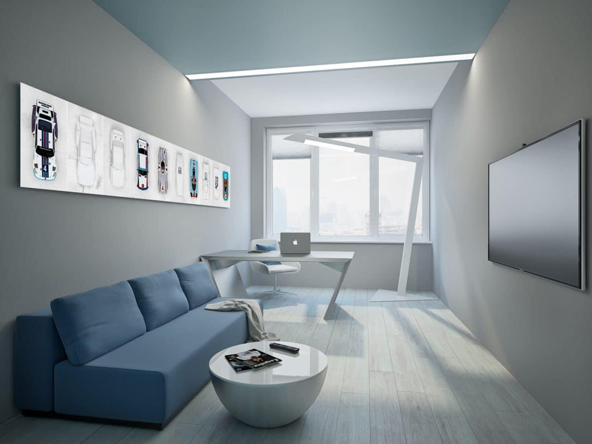 Кабинет в  цветах:   Светло-серый, Серый, Синий.  Кабинет в  стиле:   Минимализм.