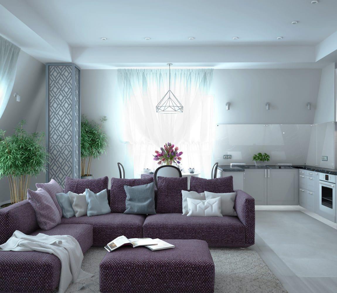 Квартира на берегу Чёрного моря: фиолетовый диван, белые стены, розовая детская