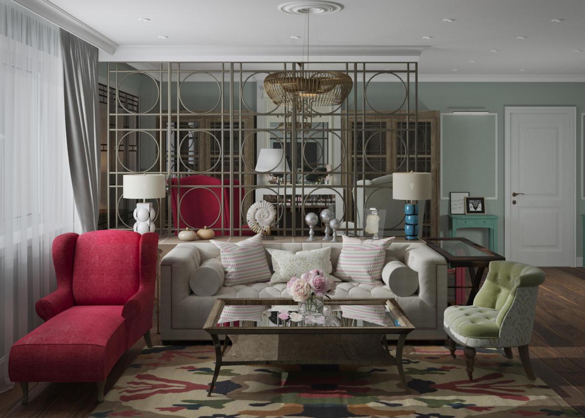 Яркая гостиная с белым диваном и розовым креслом