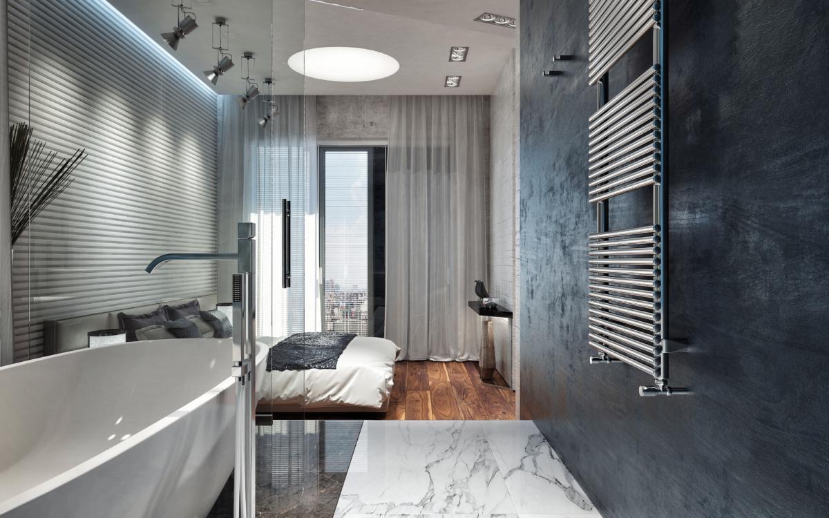 Спальня в  цветах:   Бирюзовый, Светло-серый, Серый, Фиолетовый.  Спальня в  стиле:   Лофт.