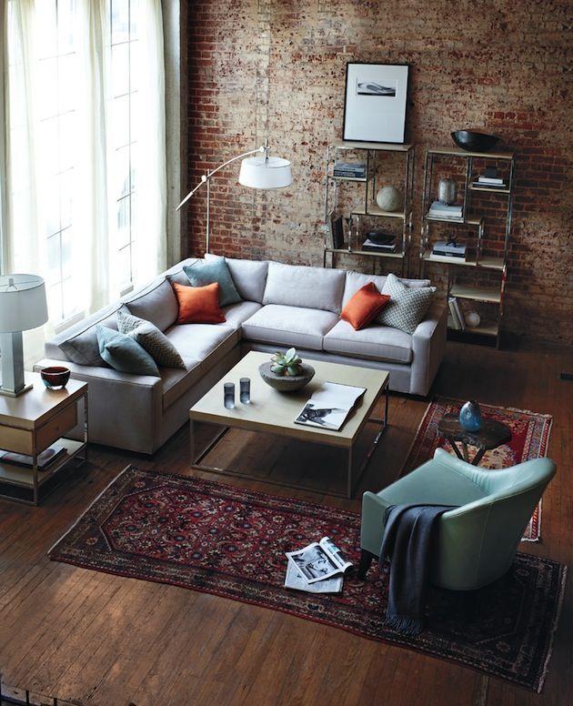 Гостиная в  цветах:   Бирюзовый, Коричневый, Светло-серый, Темно-коричневый.  Гостиная в  стиле:   Лофт.