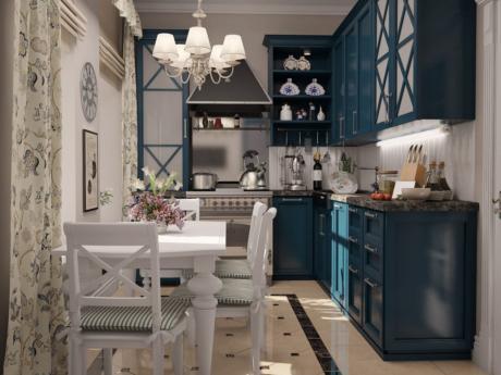Кухня/столовая в  цветах:   Коричневый, Бежевый, Салатовый, Бирюзовый, Синий.  Кухня/столовая в  стиле:   Прованс.