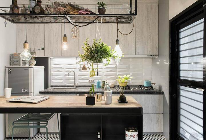 Кухня/столовая в  цветах:   Бежевый, Коричневый, Темно-зеленый, Темно-коричневый.  Кухня/столовая в  стиле:   Скандинавский.