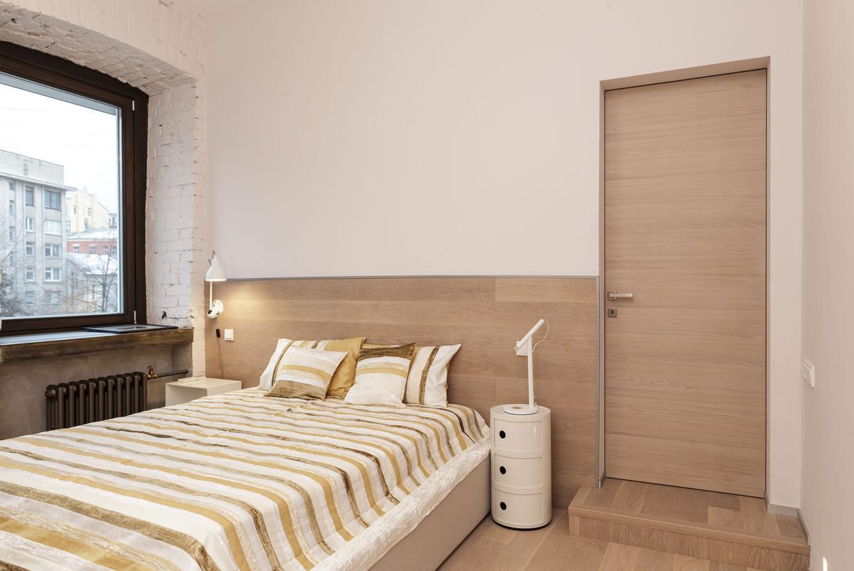 Спальня в  цветах:   Бежевый, Коричневый, Темно-коричневый.  Спальня в  стиле:   Минимализм.
