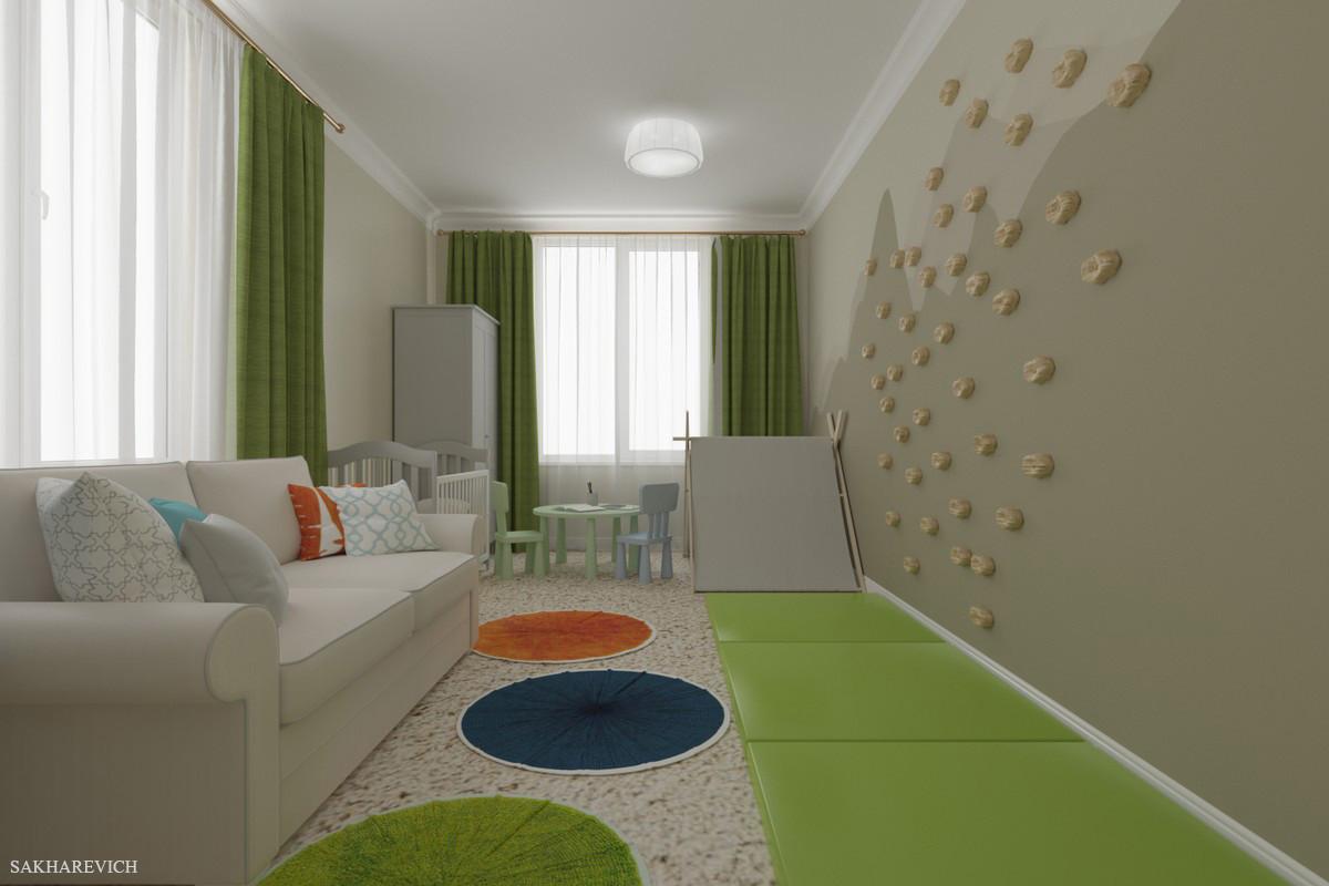 В детской комнате важным было создать игровое пространство, где дети смогли бы активно и познавательно проводить время.