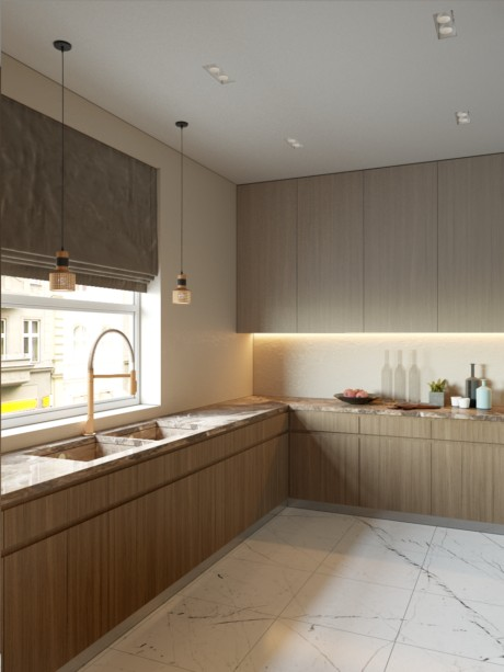 Кухня/столовая в  цветах:   Бежевый, Лимонный, Светло-серый, Темно-коричневый.  Кухня/столовая в  стиле:   Минимализм.