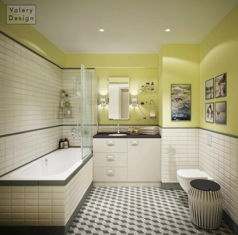 Ванная с секретами: в шкафчике прячется стиральная машинка, а за картиной — сантехнический лючок.