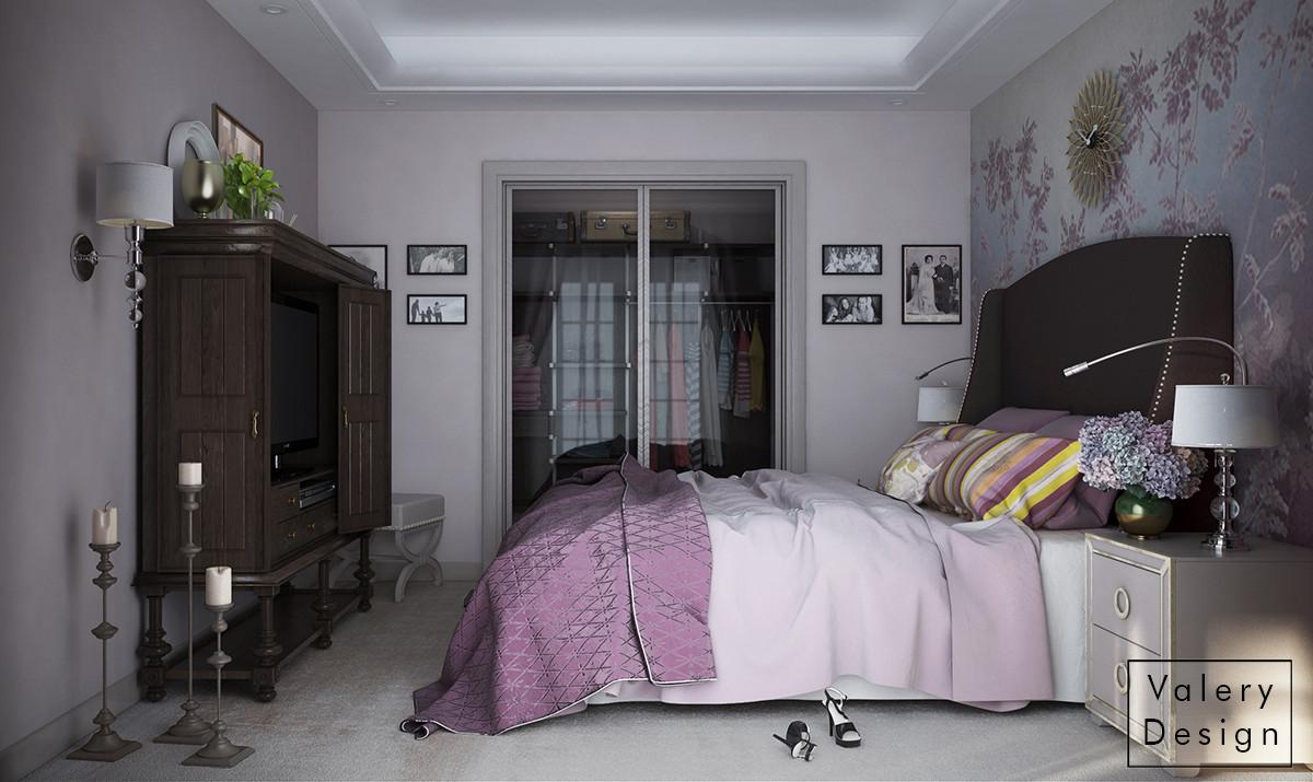Спальня получилась очень приватной и женственной, как и хотела хозяйка. Для большего уюта телевизор можно спрятать.