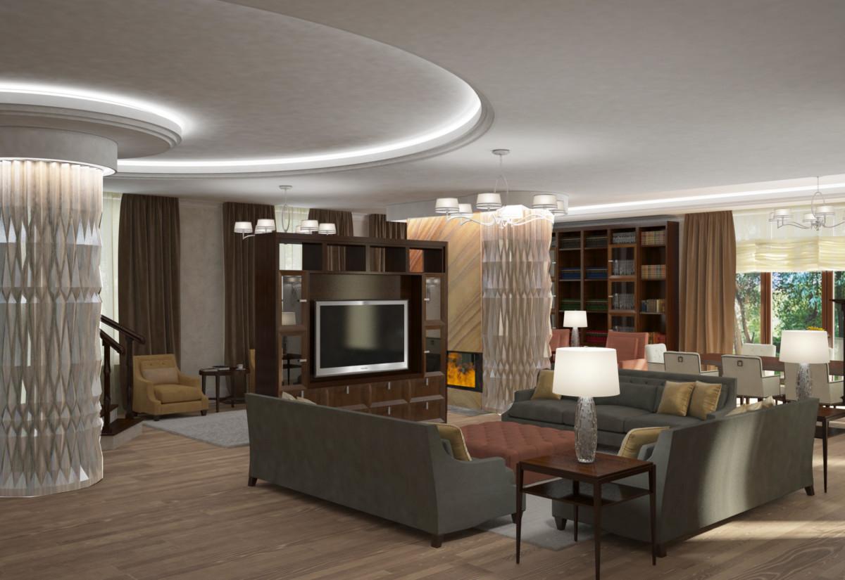 Зоны большой гостиной визуально разделяют световые потолки и колонны с декоративным рельефным оформлением.