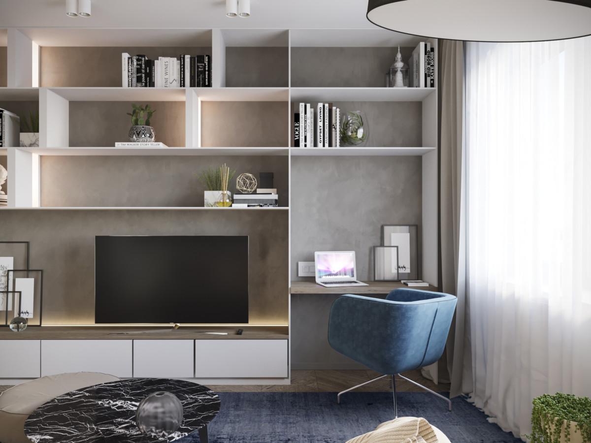Удачный вариант интеграции рабочего пространства в полку с ТВ.